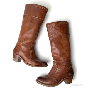 Frye Jane Motorcycle Redwood Leather Boots 7.5